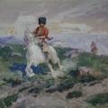 """25. """"Кубанский казак на белой лошади"""" 1899 Картон, гуашь 30х39 Севастопольский художественный музей"""