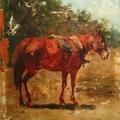 """40. Рубо Франц """"Рыжая лошадь. Этюд"""" Конец 1890-х Холст, масло 15,2х14 Музей-панорама """"Бородинская битва"""""""
