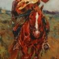 """44. Рубо Франц """"Всадник с гитарой на лошади. Этюд"""" 1900-е Бумага, акварель, гуашь 27,5х12,8 Музей-панорама """"Бородинская битва"""""""