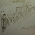 "53. Рубо Франц ""Вперед, сыны Отечества! Шарж"" 1904 Бумага, карандаш 22,3х35,4 Музей-панорама ""Бородинская битва"""