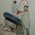 "54. Рубо Франц ""Извозчик"" 1900-е Бумага, акварель, карандаш 18,2х12,5 Музей-панорама ""Бородинская битва"""