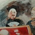"""59. Рубо Франц """"Офицер и чиновник"""" 1900-е Бумага, акварель 18,3х25 Музей-панорама """"Бородинская битва"""""""
