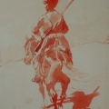 "6. Рубо Франц ""Всадник"" 1880-е Бумага, акварель 25х17,3 Музей-панорама ""Бородинская битва"""