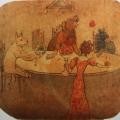 "60. Рубо Франц ""Собаки"" 1908(?) Картон, акварель 35,9х38,9 Музей-панорама ""Бородинская битва"""