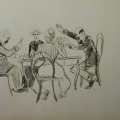 "62. Рубо Франц ""Игра в карты"" 1900-е Бумага, графитный карандаш 21,9х35,4 Музей-панорама ""Бородинская битва"""