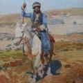 "7. Рубо Франц ""Всадник на белой лошади"" 1880-е Картон, гуашь 37х26,9 Музей-панорама ""Бородинская битва"""