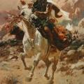 """8. Рубо Франц """"Всадник на белой лошади"""" 1887 Дерево, масло 48,6х28,2 Государственная Третьяковская галерея"""