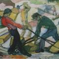 """6. Русаков Николай """"Работа"""" 1910-е Бумага, акварель 34,5х50,5 Собрание семьи художника"""