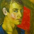 """8. Русаков Николай """"Автопортрет в синей рубахе"""" 1919 Бумага, акварель 41х26 Собрание семьи художника"""