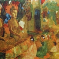 """13. Русаков Николай """"Бирма. В пагоде перед Буддой"""" 1916 Бумага, акварель, бронза 30,5х37,3 Собрание семьи художника"""