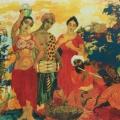 """21. Русаков Николай """"Индия. Змеиный праздник"""" 1916 Бумага, акварель, бронза 56х71 Собрание семьи художника"""