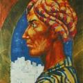 """37. Русаков Николай """"Автопортрет в чалме"""" 1926 Бумага, акварель 32,4х25,5 Челябинская картинная галерея"""