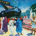 """38. Русаков Николай """"Первый поезд"""" 1924 Холст, масло 69х137 Челябинская картинная галерея"""