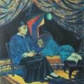 """55. Русаков Николай """"Шанхай. Курильщики опиума"""" 1927 Бумага, акварель 54,2Х50 Собрание семьи художника"""