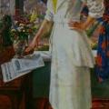 """66. Русаков Николай """"Советская художница"""" 1938 Холст, масло 198х99 Челябинская картинная галерея"""
