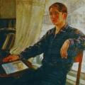 """68. Русаков Николай """"Портрет молодого рабочего (портрет сына Евгения)"""" 1930-е Холст, масло 121х100 Челябинская картинная галерея"""