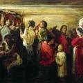 Андрей Рябушкин «Крестьянская свадьба в Тамбовской губернии» 1880 Государственная Третьяковская галерея.
