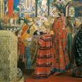 Андрей Рябушкин «Русские женщины XVII столетия в церкви» 1899 Государственная Третьяковская галерея.