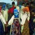 Андрей Рябушкин «Втерся парень в хоровод, ну старуха охать» 1902 Государственная Третьяковская галерея