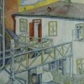 """40. Штеренберг Давид """"Двор гостиницы. Киев"""" 1914 Холст, масло 80,5х62 Из собрания семьи художника"""