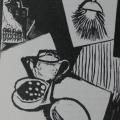 """51. Штеренберг Давид """"Натюрморт с лампой и чайником"""" 1922 Бумага, ксилография 36х24 ГМИИ имени А.С.Пушкина"""