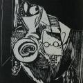 "52. Штеренберг Давид ""Натюрморт с очками"" 1922 Бумага, ксилография 21х16,1 ГМИИ имени А.С.Пушкина"