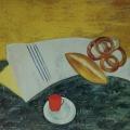 """60. Штеренберг Давид """"Красная чашка на мраморном столе"""" 1920 Картон, масло 74х99 Из собрания семьи художника"""