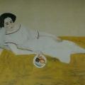 "62. Штеренберг Давид ""Женщина на диване. Н.Д.Штеренберг"" 1920 Холст, масло 107х142 Государственный Русский музей"