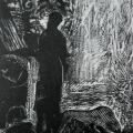 """99. Штеренберг Давид """"На террасе"""" 1920-е Бумага, ксилография 24х18,5 ГМИИ имени А.С.Пушкина"""