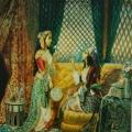 """14. Скотти Михаил """"В гареме"""" 1840-е Бумага на картоне, акварель, белила, ьронзовая краска 40,2х32,1 Государственная Третьяковская галерея"""