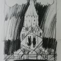 """39. Стерлигов Владимир """"Церковь в Коломенском"""" 1950-е Бумага, черный карандаш 28,9х20,4 Из собрания А.Б.Стерлигова, Москва"""