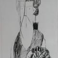 """40. Стерлигов Владимир """"Старец"""" 1960-е Бумага, черный карандаш 28,9х20,3 Из собрания А.Б.Стерлигова, Москва"""