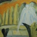 """42. Стерлигов Владимир """"Ангелы"""" 1954 Бумага, акварель 15х23 Из собрания Л.Н.Глебовой, Петродворец"""