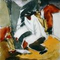 """10. Татлин Владимир """"Рыбак"""" 1911 Бумага, акварель, черный карандаш 24,6х24,3 Собрание М.Салиной и С.Кривошеева"""