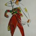 """16. Татлин Владимир """"Эскиз маскарадного костюма"""" 1912 Бумага, карандаш, гуашь 31,9х24 Частное собрание"""