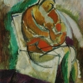 """33. Татлин Владимир """"Женщина, корящая грудью ребёнка"""" 1913 Холст, масло 30х35 Частное собрание, Италия"""