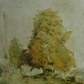 """72. Татлин Владимир """"Тополя. Плёс"""" Около 1946 Холст, масло 49,5х39,5 Государственный Русский музей"""