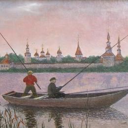 """А.А. Соколов """"У Прилук"""" 1991. Предоставлено: Вологодская областная картинная галерея."""