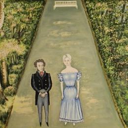 """В.Н. Сивцов """"Пушкин и А.П.Керн"""" 1993. Предоставлено: Вологодская областная картинная галерея."""