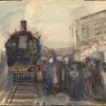 """Александр Лабас """"На паровозе"""" 1936. Предоставлено: Московский музей современного искусства - ММОМА."""