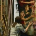 Т.Г. Назаренко «Мастерская. Левая часть триптиха» 1983. Собрание: Государственная Третьяковская галерея. Предоставлено: Государственная Третьяковская галерея.