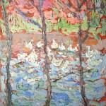 """12. Малевич Казимир """"Пейзаж с прудом"""" 1906 Картон, масло 30,6х19 Коллекция Sepherot Foundation, Лихтенштейн"""