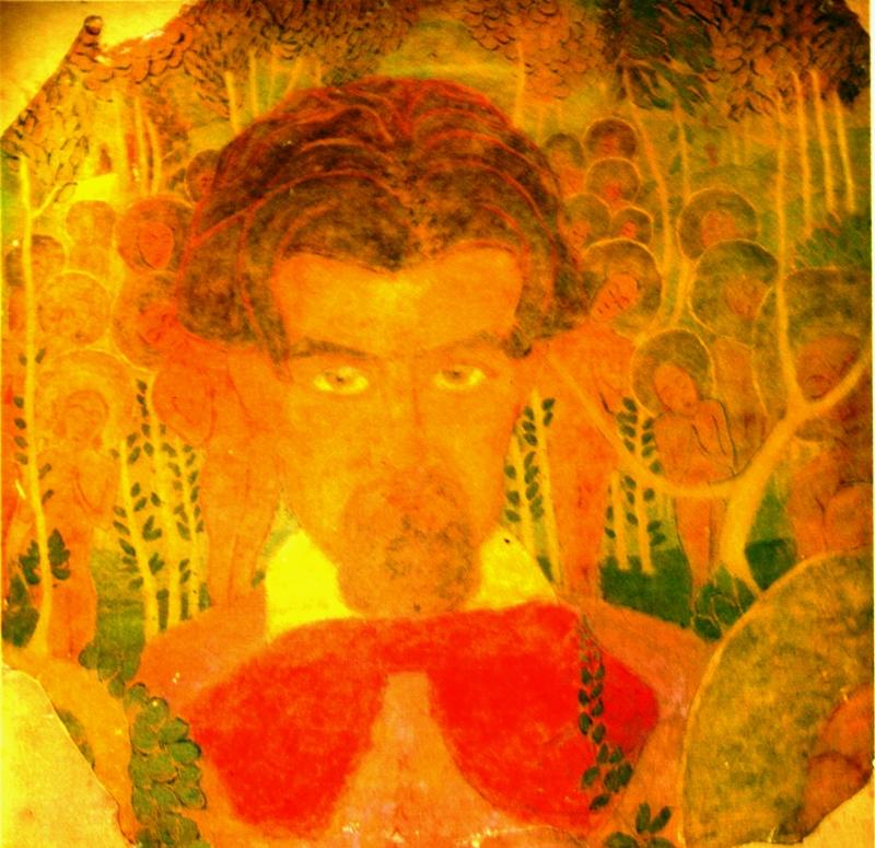 """15.  Малевич Казимир  """"Эскиз фресковой живописи (Автопортрет)""""  1907  Картон, темпера  69,3х70  Государственный Русский музей"""