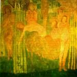 """18. Малевич Казимир """"Эскиз фресковой живописи"""" 1907 Картон, темпера 69,3х71,5 Государственный Русский музей"""