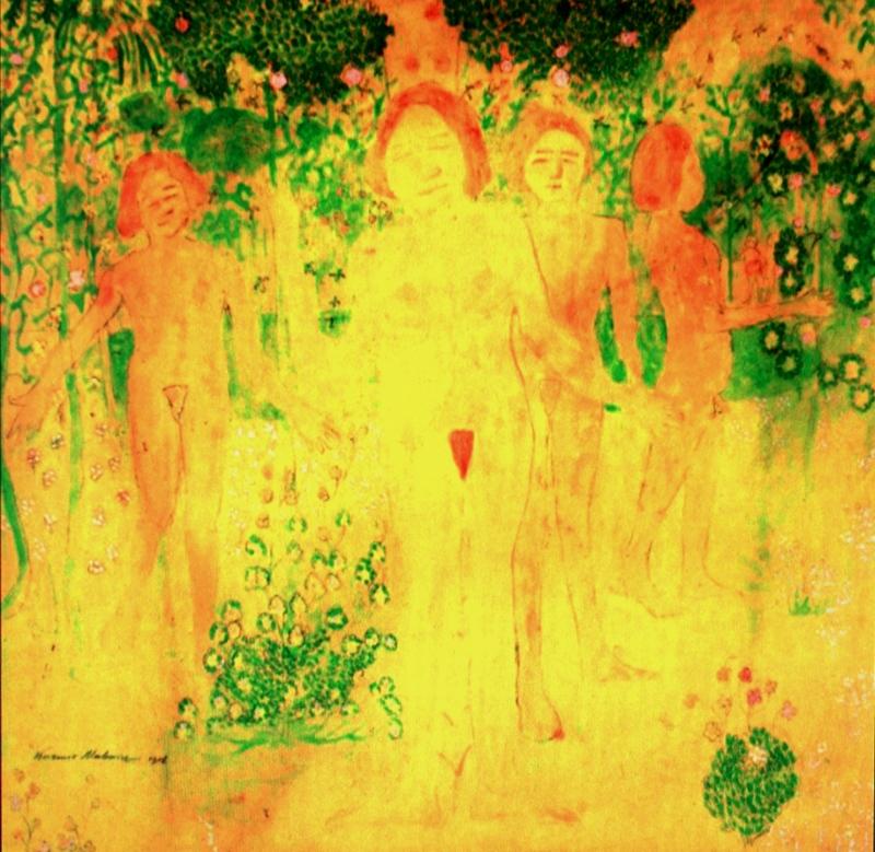 """22.  Малевич Казимир  """"Женщины, собирающие цветы  1908  Бумага, акварель  23,5х25,5  Частное собрание"""