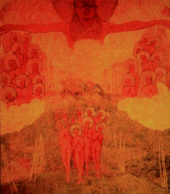 """24.  Малевич Казимир  """"Небесный триумф""""  1907  Картон, темпера  72,5х70  Государственный Русский музей"""