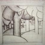 "36. Малевич Казимир ""Зимний пейзаж"" Начало 1910-х Бумага, графитный карандаш й11,5х11,8 Коллекция Sepherot Foundation, Лихтенштейн"