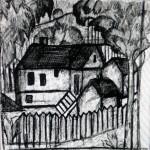 """43. Малевич Казимир """"Дома"""" 1910-1911 Бумага, графитный карандаш 16,2x15,9 Государственный Русский музей"""