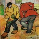 """46. Малевич Казимир """"Полотеры"""" 1911-1912 Бумага, гуашь 77,1х71 Городской музей, Амстердам"""
