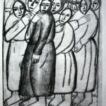 """50. Малевич Казимир """"Крестьянки в церкви"""" 1911-1912 Бумага, графитный карандаш 21,9х18,4 Государственный Русский музей"""
